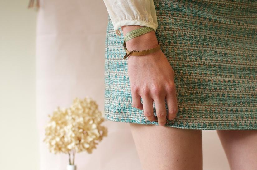 bracelet pointillés cuir chaine laiton