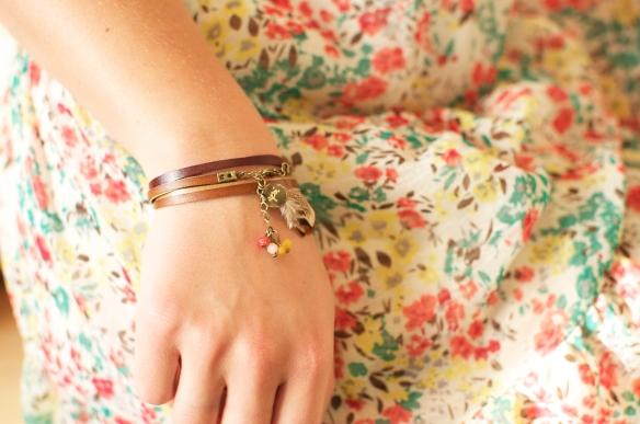 Bracelet trois fois lien cuir - Bijou apoi -