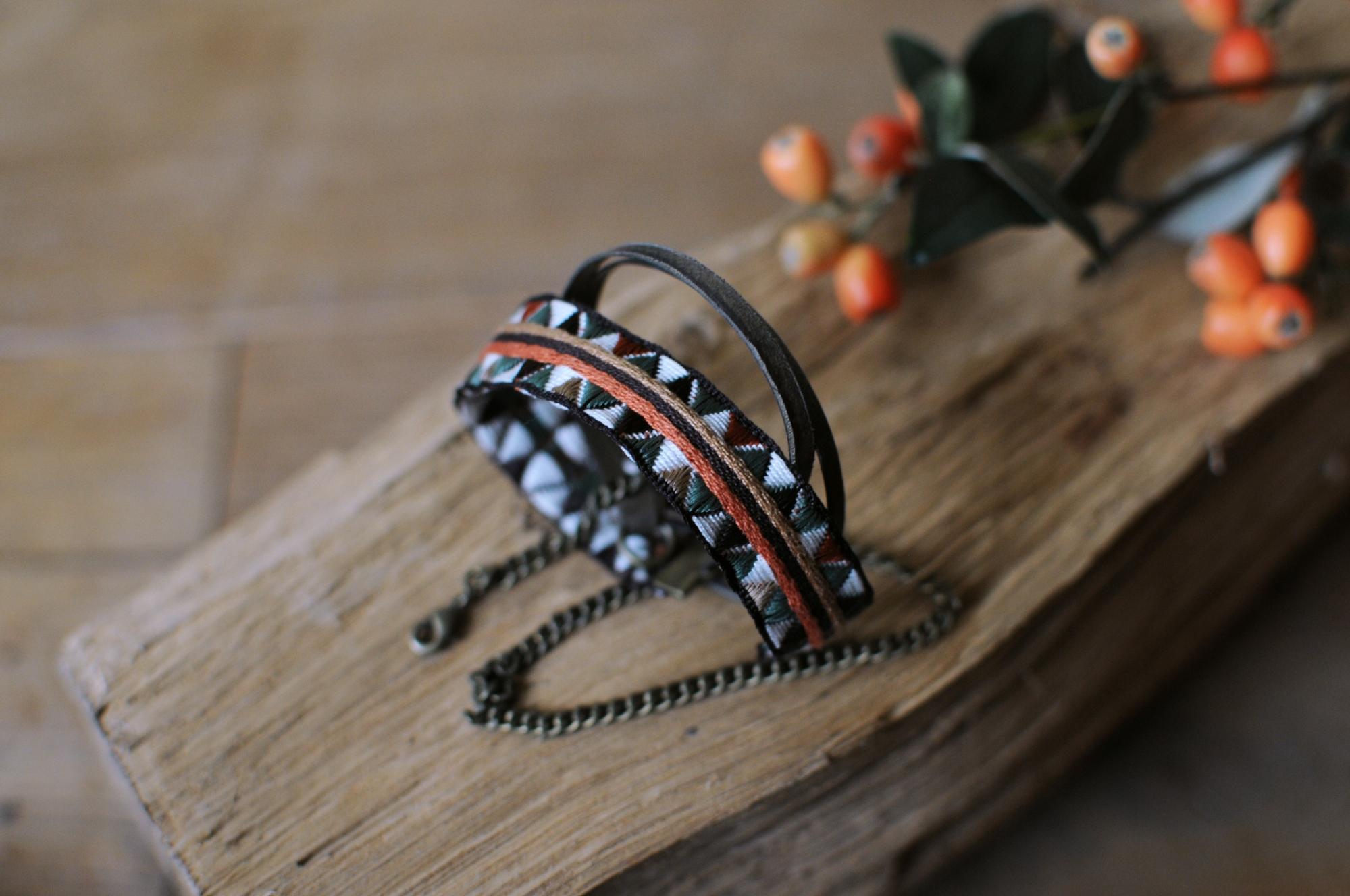 bracelet apoi ruban cuir laiton chaine