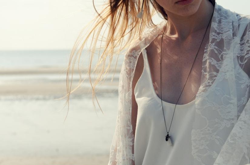 collier long pompon laiton étoile