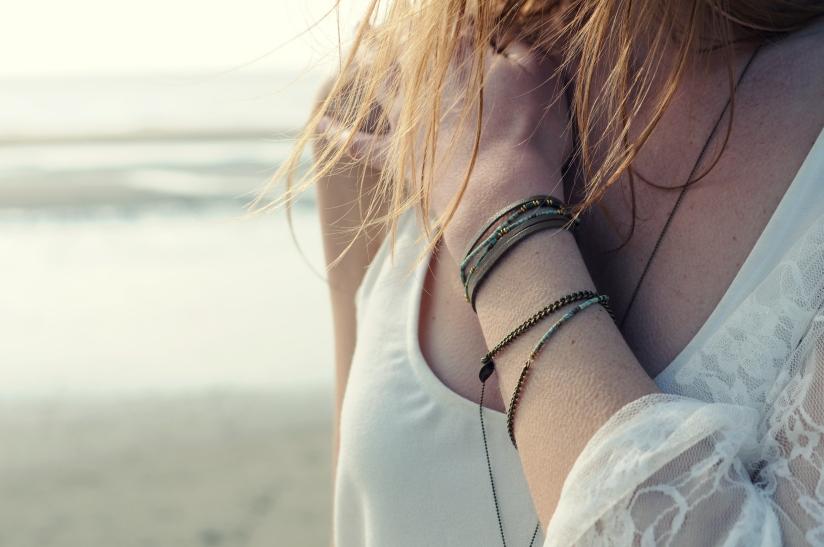 bracelet turquoise laiton cuir perle